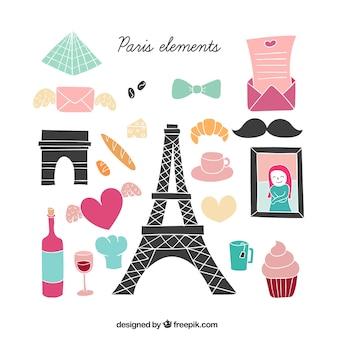 Cute paris elements illustration