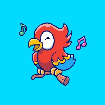 Cute parrot bird singing   icon illustration. bird mascot cartoon character. animal icon concept isolated