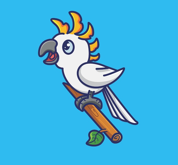 귀여운 앵무새 새는 나뭇가지에 머물고 만화 동물 격리 평면 스타일 스티커 웹 디자인