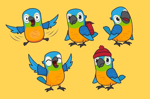 Cute parrot character vector illustration set