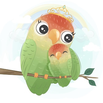 Cute parrot mother and baby