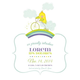 Cute parrot riding a bike. baby shower or arrival card in