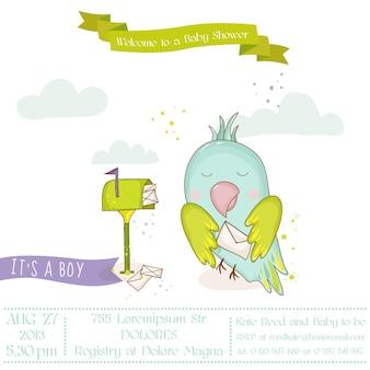 Милый попугай с письмом. детский душ или карта прибытия в