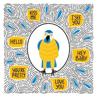 Симпатичный попугай с цитатами о любви и крутыми декоративными элементами, нарисованными от руки