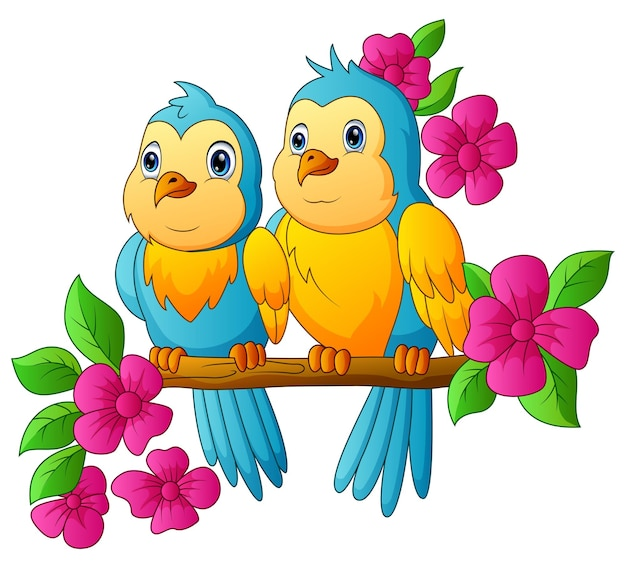 Cute parrots are sitting on a branch with pink flowers