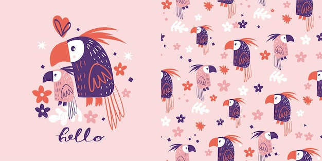 Cute parrots seamless pattern
