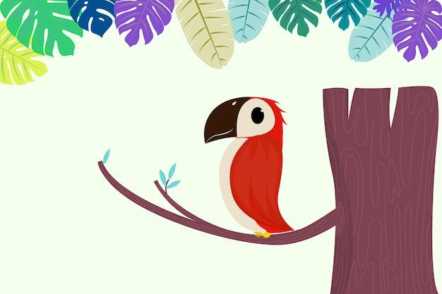 앉아있는 귀여운 앵무새 또는 나뭇 가지