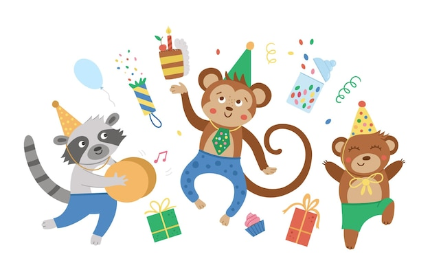 기쁨으로 점프하는 귀여운 파티 동물. 재미있는 생일 카드 또는 초대장 디자인