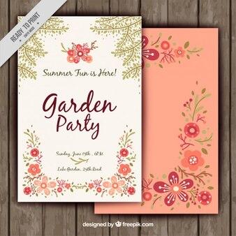 自然の要素を持つかわいいパーティーの招待状