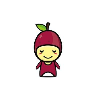 귀여운 열정 과일 만화 캐릭터 만화 귀여운 캐릭터 일러스트 아이콘 벡터