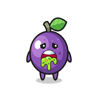 The cute passion fruit character with puke , cute style design for t shirt, sticker, logo element