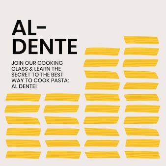 Cute pasta doodle template vector for food social media post