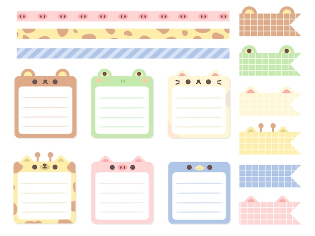Cute pastel animal note background