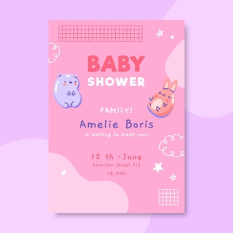 Cute pastel baby shower family invitation
