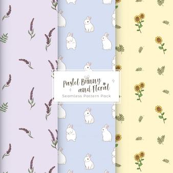 귀여운 파스텔 토끼와 꽃 원활한 패턴