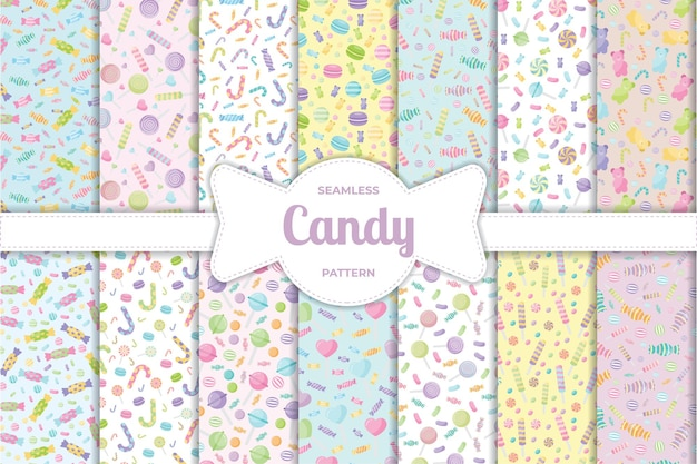 Cute pastel candy sweet desserts seamless pattern with different types