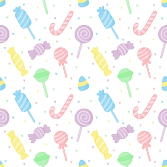 Cute pastel candy sweet desserts seamless pattern