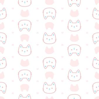 かわいいパステル猫のシームレスパターン