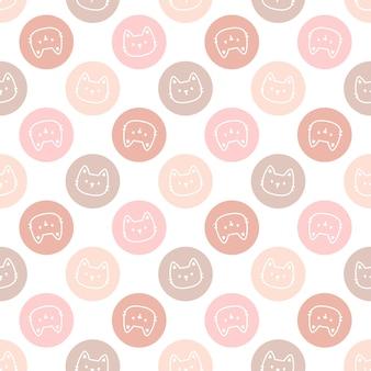 かわいいパステルサークル猫シームレスな繰り返しパターン、壁紙の背景、かわいいシームレスパターン背景