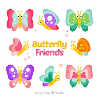 Raccolta di farfalle di colore pastello carino