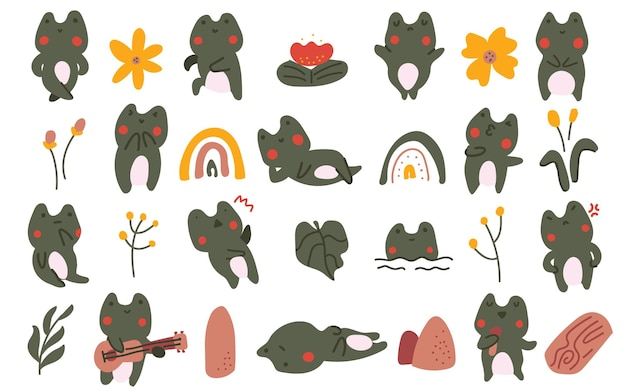 Симпатичные пастельные цвета в скандинавском стиле лягушка цветок жаба каракули рисованной иллюстрации