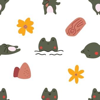 Симпатичные пастельные цвета в скандинавском стиле лягушка жаба цветок каракули бесшовный фон