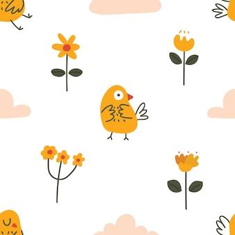 귀여운 파스텔 색상 스칸디나비아 스타일 새 꽃 날씨 낙서 원활한 패턴