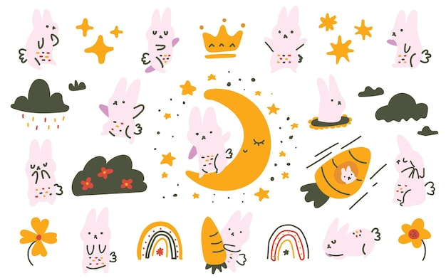 Cute pastel color scandinavian style bunny, moon, carrot doodle hand drawn illustration