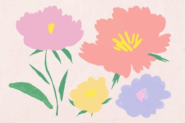 귀여운 파스텔 컬러 꽃 식물 그림