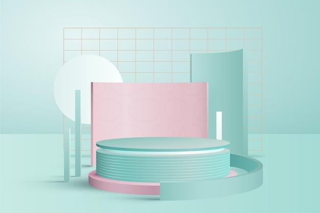 Cute pastel coloured podium with metal grids 3d effect