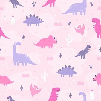 Cute pastel dinosaurs hand drawn cartoon seamless pattern
