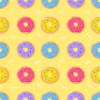 Cute pastel donuts sweet summer desserts seamless pattern with different types