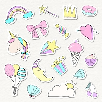 Cute pastel doodle stickers with white borders set