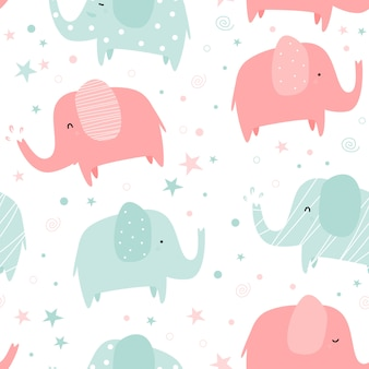 Cute pastel elephant cartoon doodle seamless pattern
