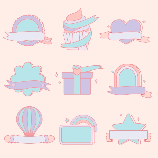 Cute pastel emblems set