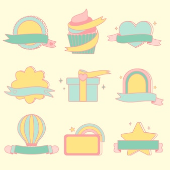 Cute pastel emblems vector set