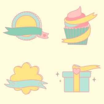 Cute pastel emblems vector set