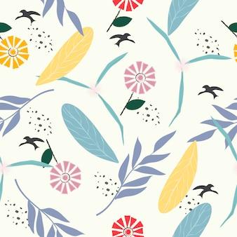 かわいいパステル調の花のシームレスなパターン背景