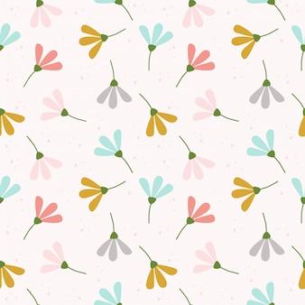 Cute pastel flowers seamless pattern