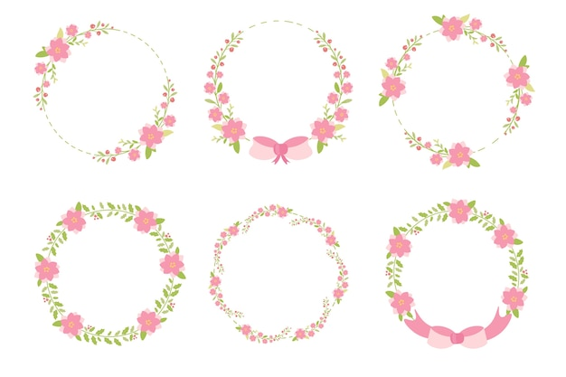 Cute pastel green pink christmas flat style wreath frame