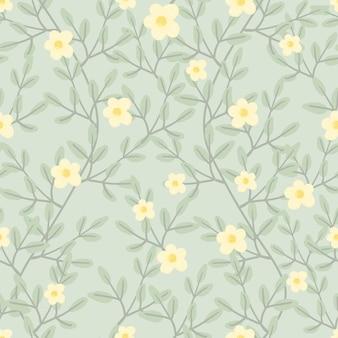 Cute pastel green vine blossom seamless pattern