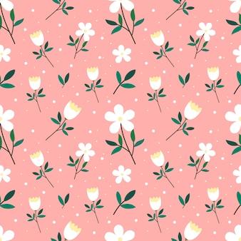 かわいいパステル手描きの花のシームレスパターン