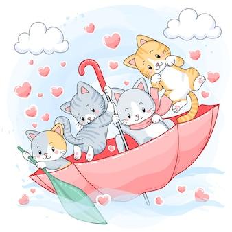 우산 안에 항해 귀여운 파스텔 고양이
