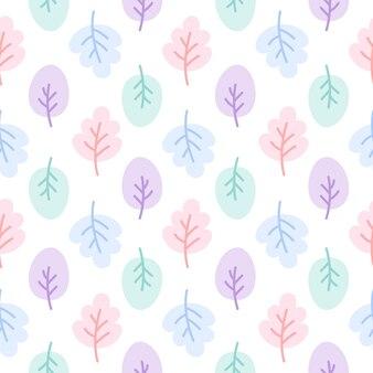 귀여운 파스텔 잎 원활한 패턴 배경