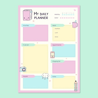 Cute pastel lovely daily agenda general planner