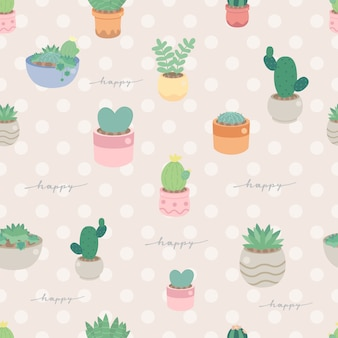 Cute pastel minimal cactus and succulent in pot seamless pattern