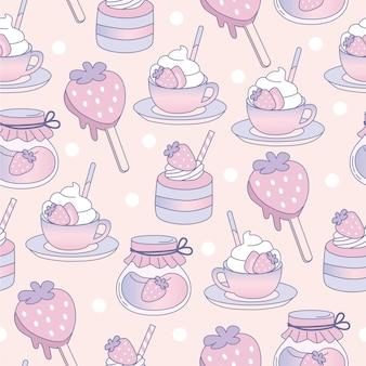 Симпатичные пастельные бесшовные десерты для фона и тканей