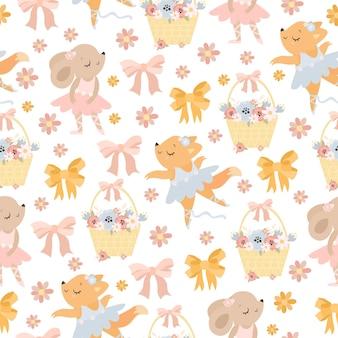 Милый пастельный узор с танцующими животными и цветами