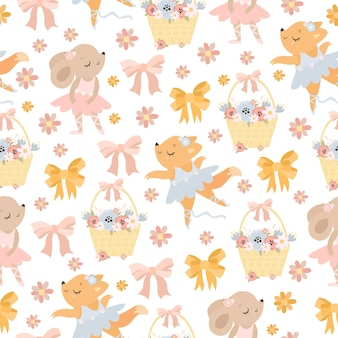 Cute pastel pattern with dancing animals and flowers