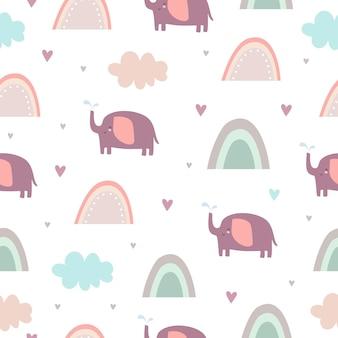 Милый пастельный узор со слонами и радугой